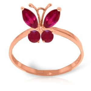 GOLD BUTTERFLY RING WITH NATURAL RUBIES